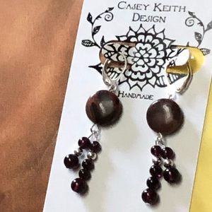 Casey Keith Design Jewelry - Stacked Garnet & Laguna Agate Earrings
